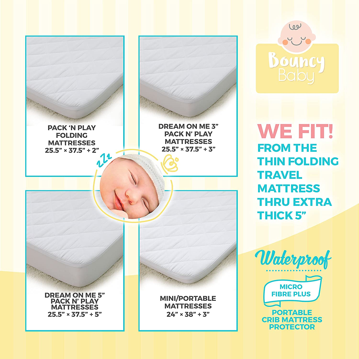 "Amazon.com : Bouncy Baby Pack N Play Mattress Cover - Hypoallergenic, Soft  Protector with Quilted Top & 5"" Fitted Elastic Skirt Band - Fits Mini, ..."