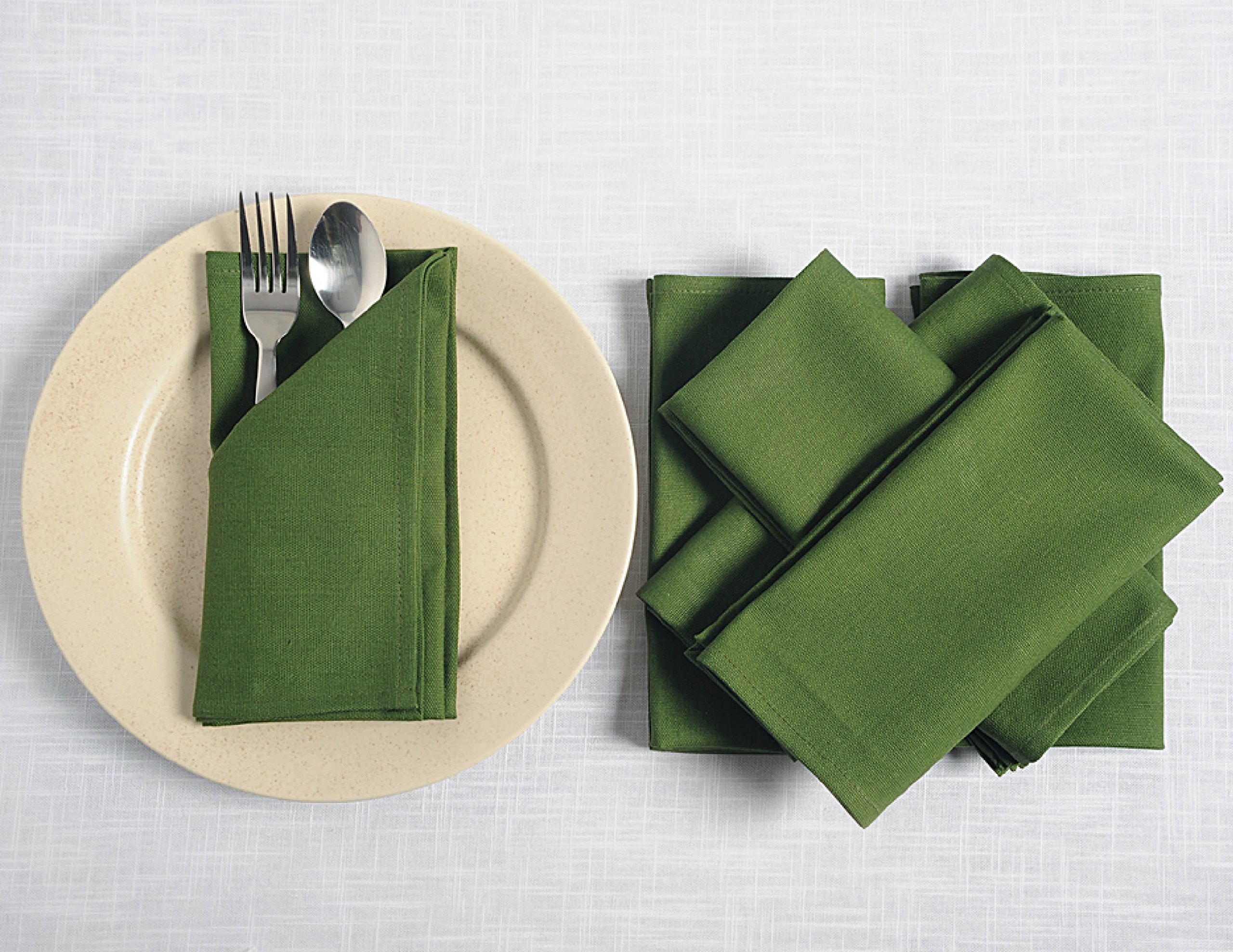 ShalinIndia Cloth Cocktail Napkins Set - 6'' x 6'' - Cotton - Olive - Set of 100 - Perfect for Weddings & Parties