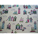 Vintage Seaside Candy Wipe Clean Cotton Oilcloth Tablecloth 132cm x 1 metre