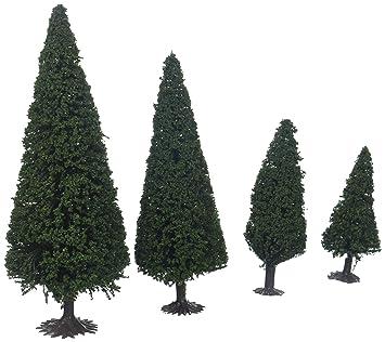 5 dunkelgrüne Tannen Nadelbäume 150 mm hoch