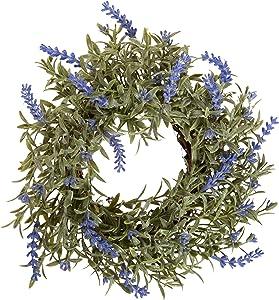 Artificial Lavender Ring, Decorative Faux Floral Arrangements, Home and Garden Décor, Medium Size, 8-inch