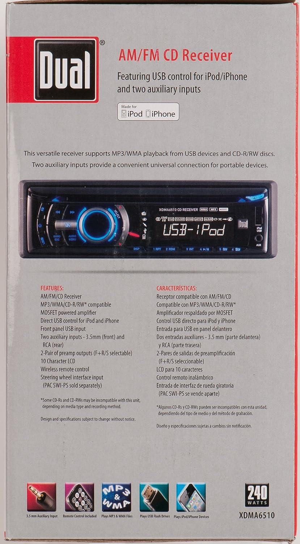 Amazon.com: Dual XDMA6510 In-Dash AM/FM CD Player with MP3/Full iPod/iPhone Control: Car Electronics