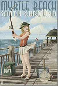 Myrtle Beach, South Carolina - Pinup Girl Fishing (Premium 1000 Piece Jigsaw Puzzle for Adults, 20x30, Made in USA!)