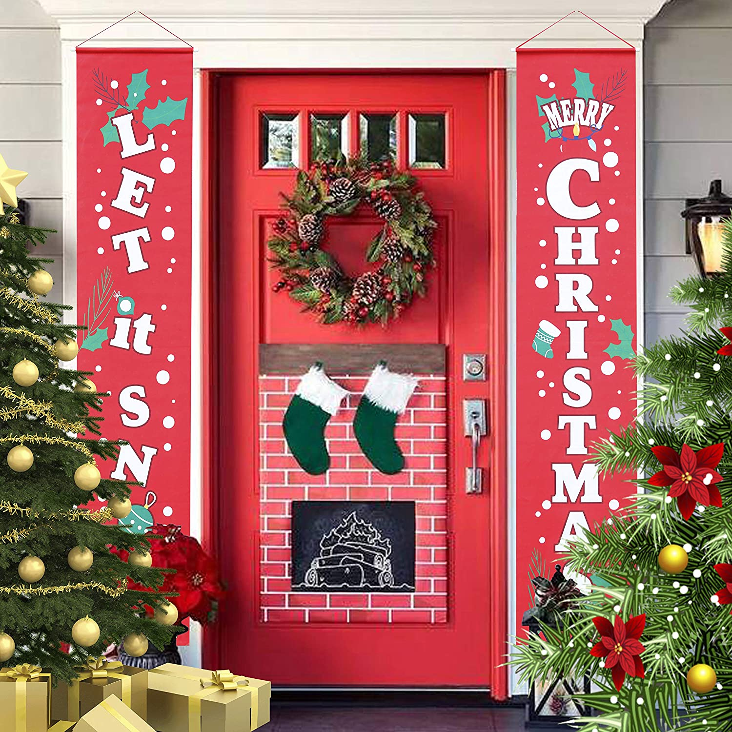 """JOYIN Indoor and Outdoor Christmas Decor 72""""x12"""" Merry Christmas Decorations Let it Snow Porch Sign, Winter Holiday Snowman Hanging Door Banner Flag for Yard Party"""
