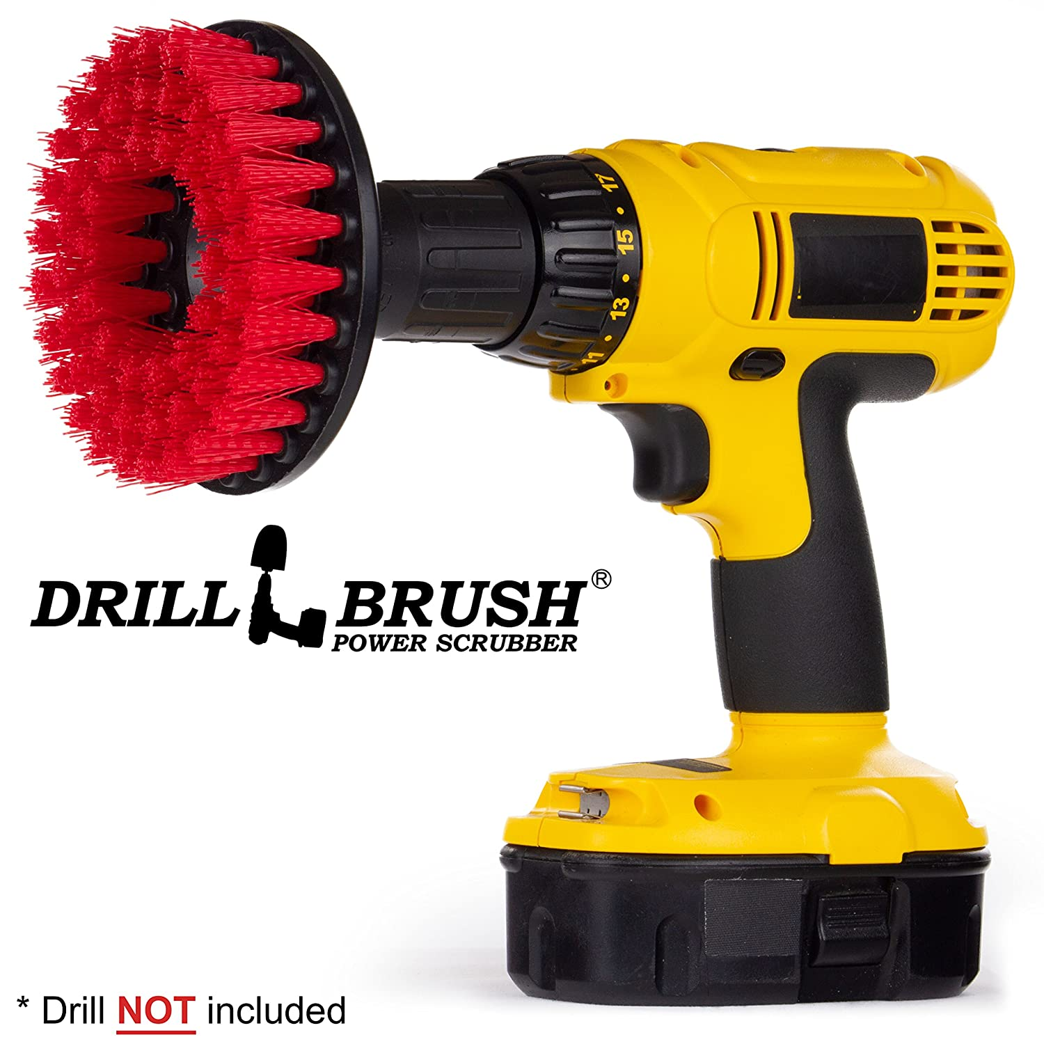 Red Drill Brush Heavy Duty Cleaning Brush with Stiff Bristles by Drillbrush 5in-Ch-Red-0658