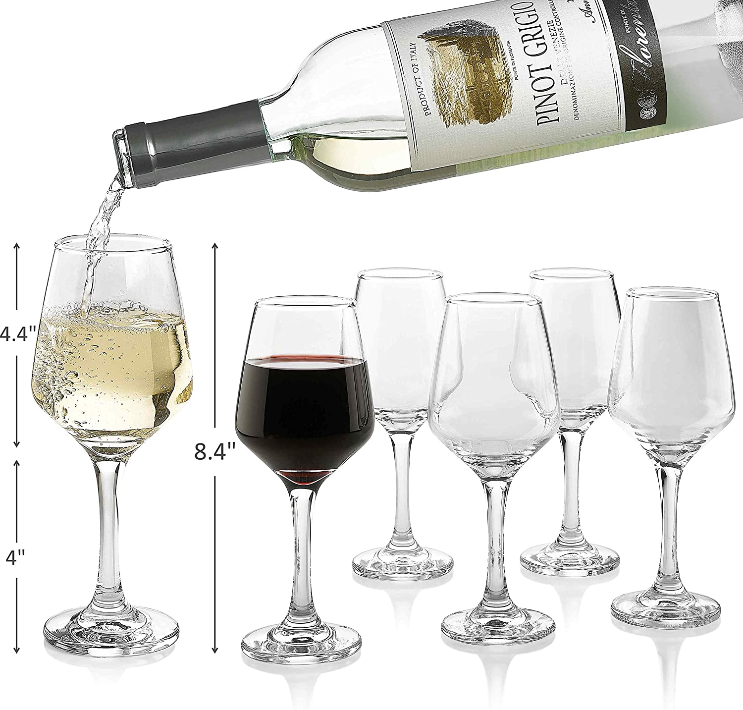 Premium Wine Glasses 10 Ounce - Lead Free Clear Classic Wine Glass with Stem Pack of 6 - Great For White And Red Wine - Elegant Gift For Housewarming Party