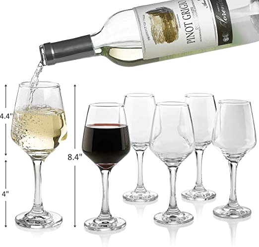Amazon Com Premium Wine Glasses 10 Ounce Lead Free Clear Classic Wine Glass With Stem Pack Of 6 Great For White And Red Wine Elegant Gift For Housewarming Party Wine Glasses
