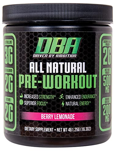 DBA Performance All Natural Pre Workout Enhanced Strength, Focus, Hydration, Energy. Vegan Friendly, No Artificial Ingredients, Non-GMO 25 Servings Berry Lemonade