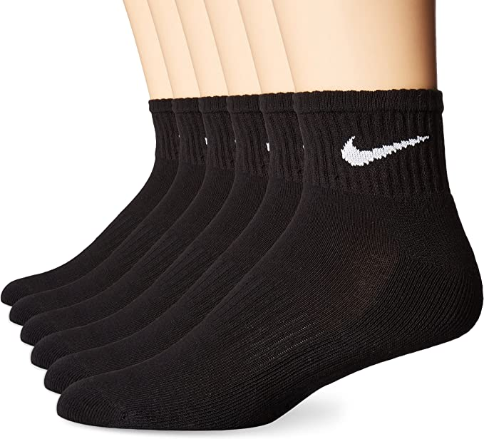 NIKE Performance Cushion Quarter Socks with Bag (6 Pairs)