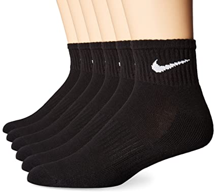329fae9ff7e5 Amazon.com  NIKE Performance Cushion Quarter Socks with Bag (6 Pairs ...