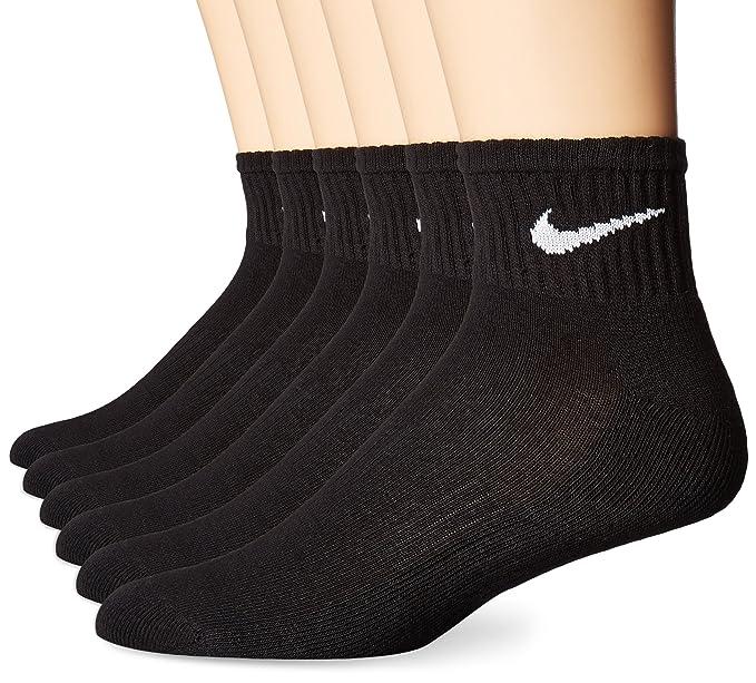 Nike Performance cojín Cuarto Calcetines con Bolsa (6 Pares), Unisex, Color Blanco/Negro, tamaño Large: Amazon.es: Deportes y aire libre