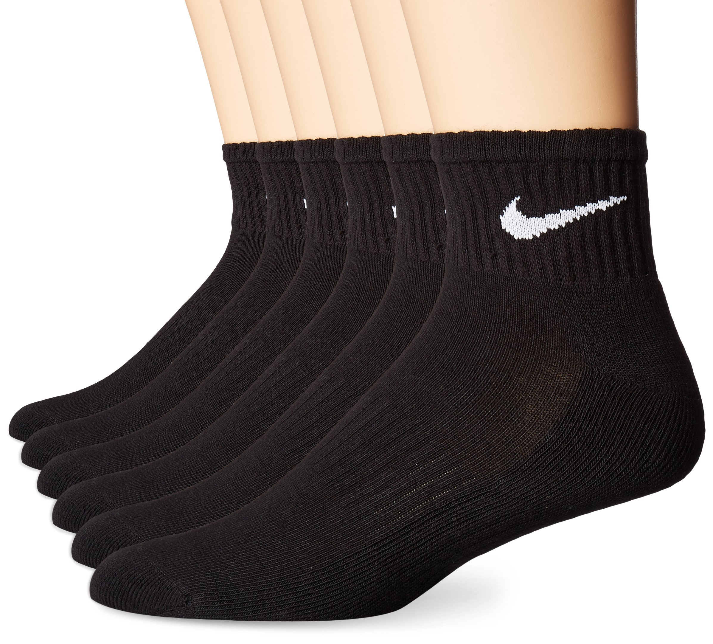 NIKE Unisex Performance Cushion Quarter Socks with Bag (6 Pairs), Black/White, Large