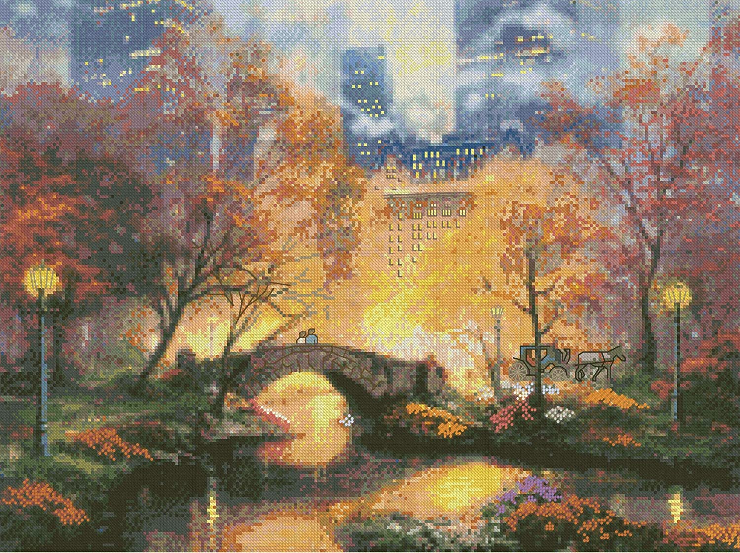 Thomas Kinkade Central Park Counted Cross Stitch Kit-16