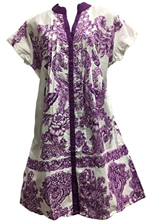 3a59f32334acda Indian Cotton Short Sleeve Button Down Purple Floral Butterfly Shift Style  Dress (Small)