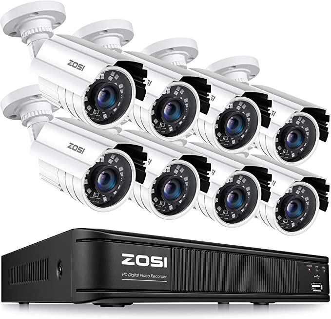 Amazon.com : ZOSI 1080p H.265+ Home Security Camera System, 5MP Lite 8 Channel CCTV DVR Recorder with 8 x 1920TVL Security Camera Outdoor Indoor, 80ft Night Vision, Remote Access, Motion Detection (No Hard Drive) : Camera & Photo