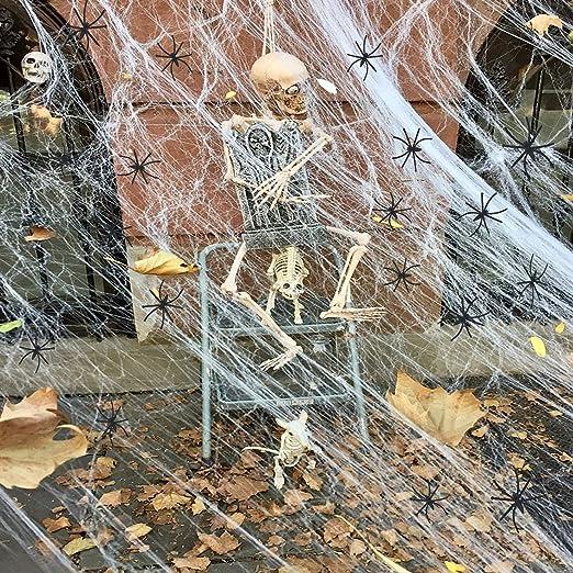 Juznoy Halloween Deko Spinnennetz Halloween Spinngewebe Deko Halloween Spinnennetz Cobwebs White Fur Draussen Garten 23 18 Ft Amazon De Kuche Haushalt