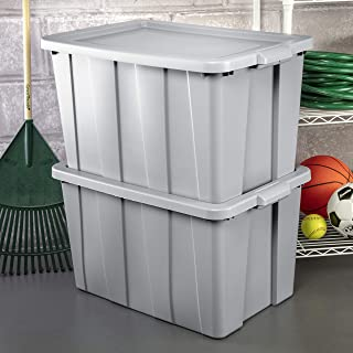product image for Sterilite 16796A04 Storage Tote, 30 gallon, Cement Lid and Base (Pack of 4)