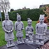 Steinfigur 4 er Set Chinesische Terrakotta Krieger Soldat Gartenfigur Steinguss