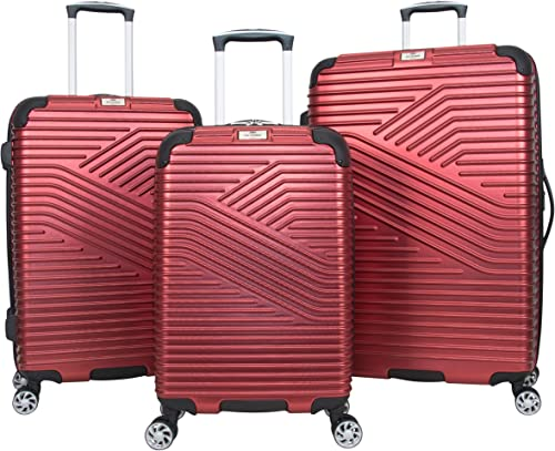 Ben Sherman Bangor 3-Piece Lightweight Hardside PET 8-Wheel Spinner Expandable Luggage Set 20 Carry-On, 24 , 28 Suitcase Set, Warm Red
