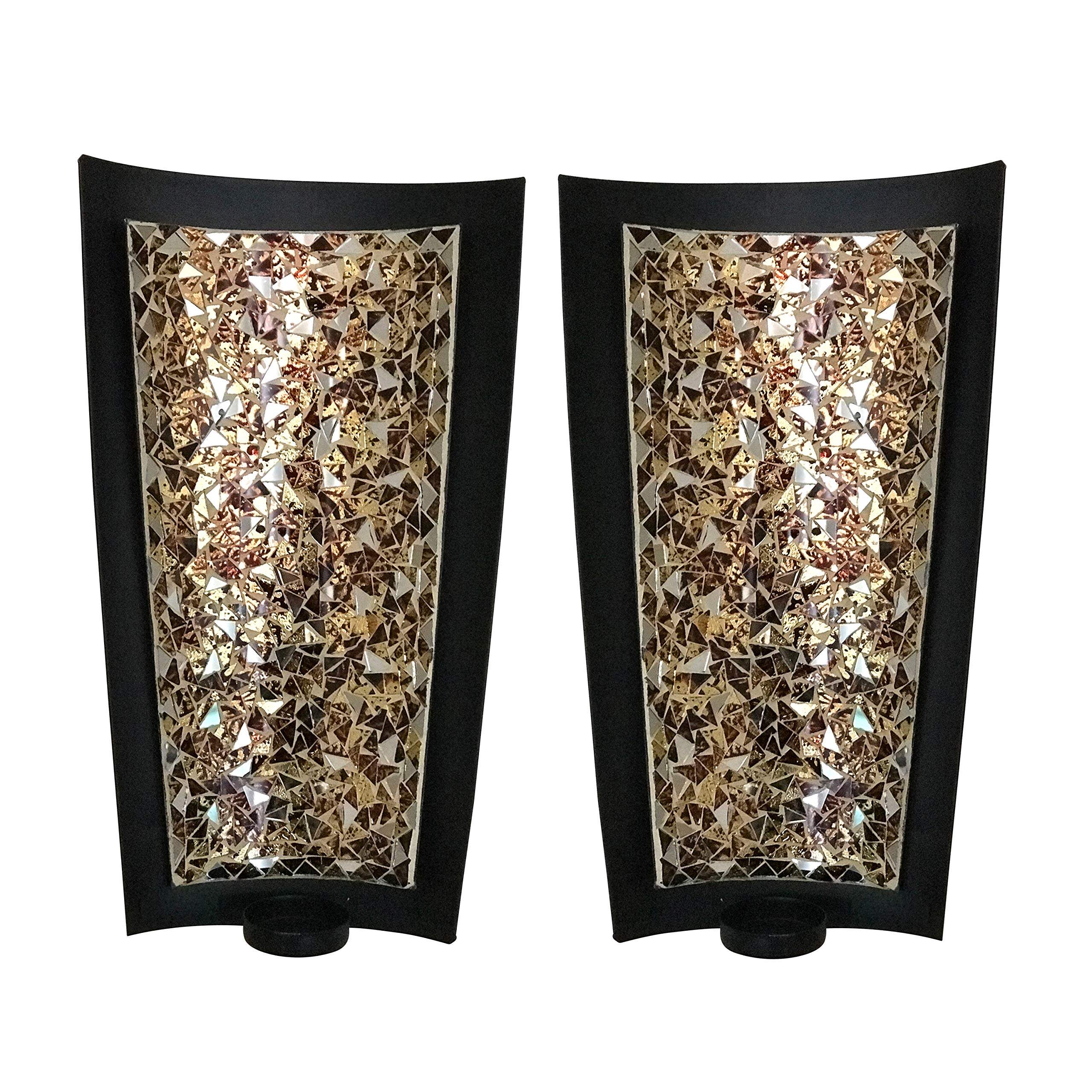 DecorShore Mosaic Wall Sconces Tealight Candle Holders - Abstract Metal Wall Art Candle Sconces Pair (Medium - 12 inch)