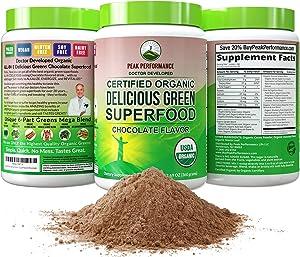 Peak Performance Chocolate Organic Super Greens Powder. Best Tasting Organic Green Juice Vegan Superfood with 25+ Organic Ingredients for Energy + Detox. Green Super Food Powdered Smoothie Mix Drink
