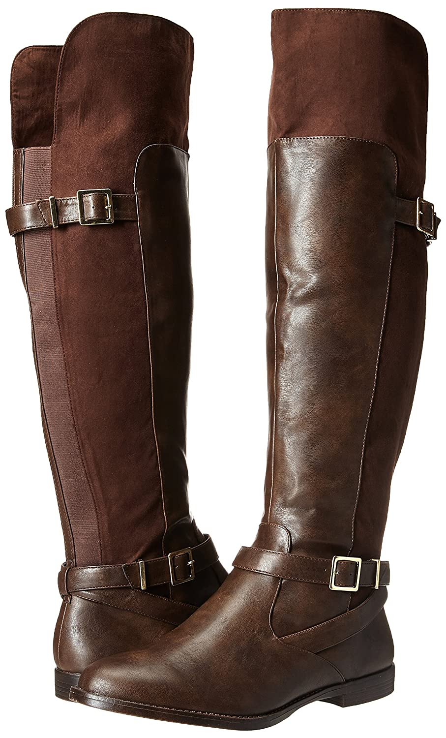 Romy II Suede Fold Over Double-Buckle Straps Low-Heel Women's Brown Pirate Boots - DeluxeAdultCostumes.com