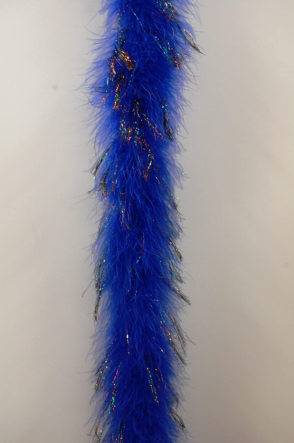 72 22 Grams Royal Blue w//Black IRIS Lurex Marabou Feather Boa 2 Yards Long