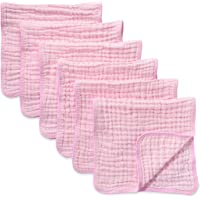 Muslin Burp Cloths 6 Pack Large 100% Cotton Hand Washcloths 6 Layers Extra Absorbent and Soft (Pink)