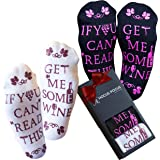 "Wine Socks -""If You Can Read This Bring Me A Glass of Wine"" - Mother's Day Gifts Idea - Two Pair of Socks in a Gift Box - The Perfect Funny Gift For Men and Women"