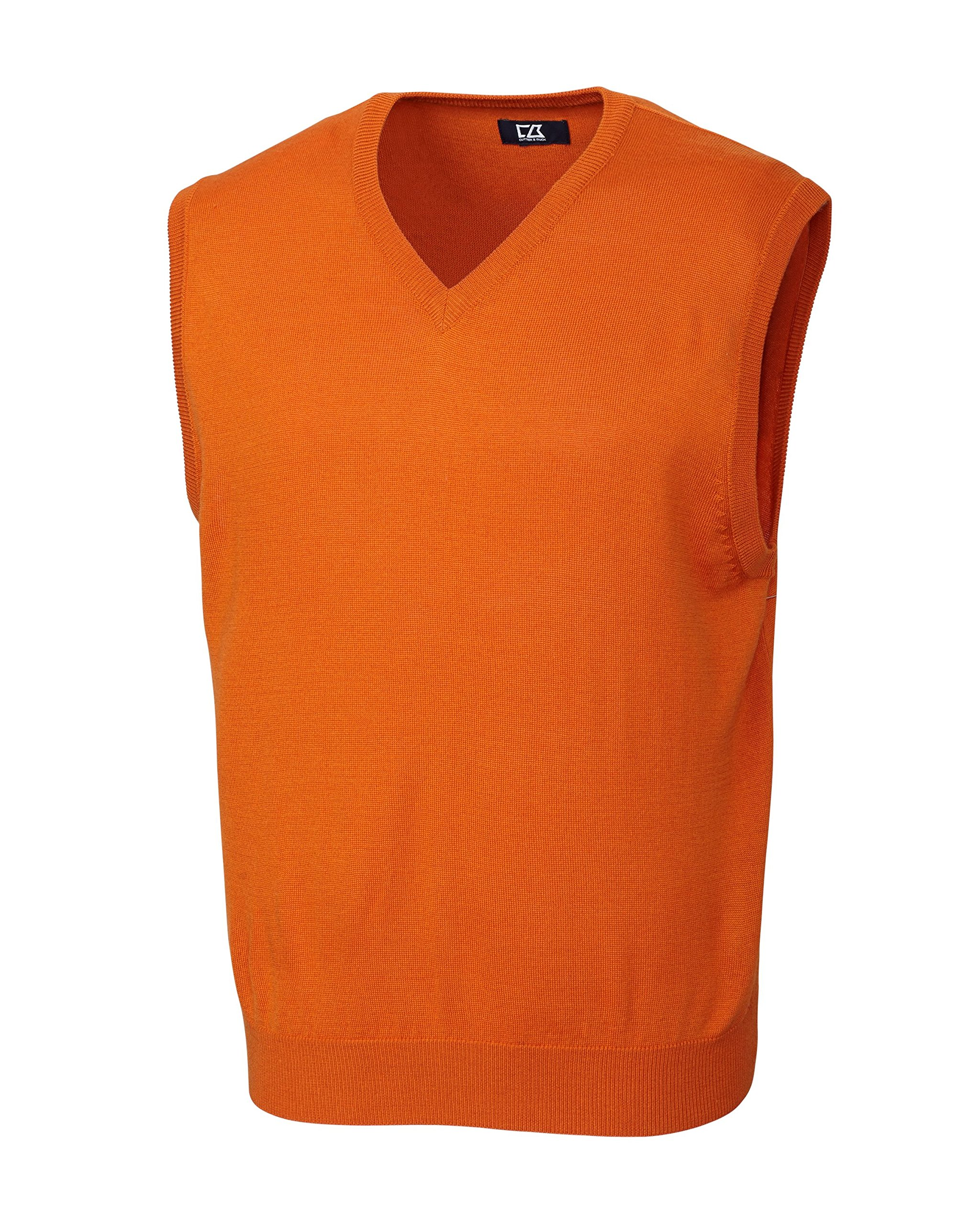 Cutter & Buck Men's Douglas V-Neck Sweater Vest, Fiery Orange, Large