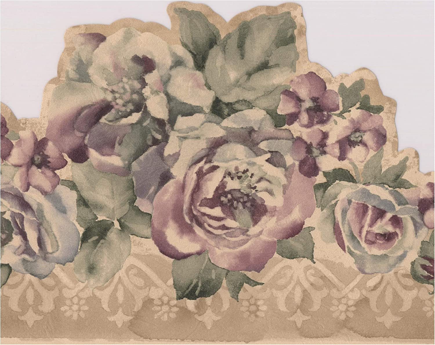 Purple Flowers Vintage Floral Wallpaper Border Retro Design Roll