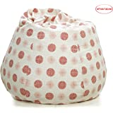 Story@Home XXL Dots Print Canvas Bean Bag Chair Cover Without Beans, Maroon
