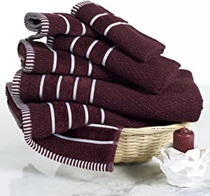 Luxury Cotton Towel Set - Rice Weave 100% Egyptian Cotton 6 Piece Set with 2 Bath Towels, 2 Hand Towels and 2 Washcloths - Burgundy