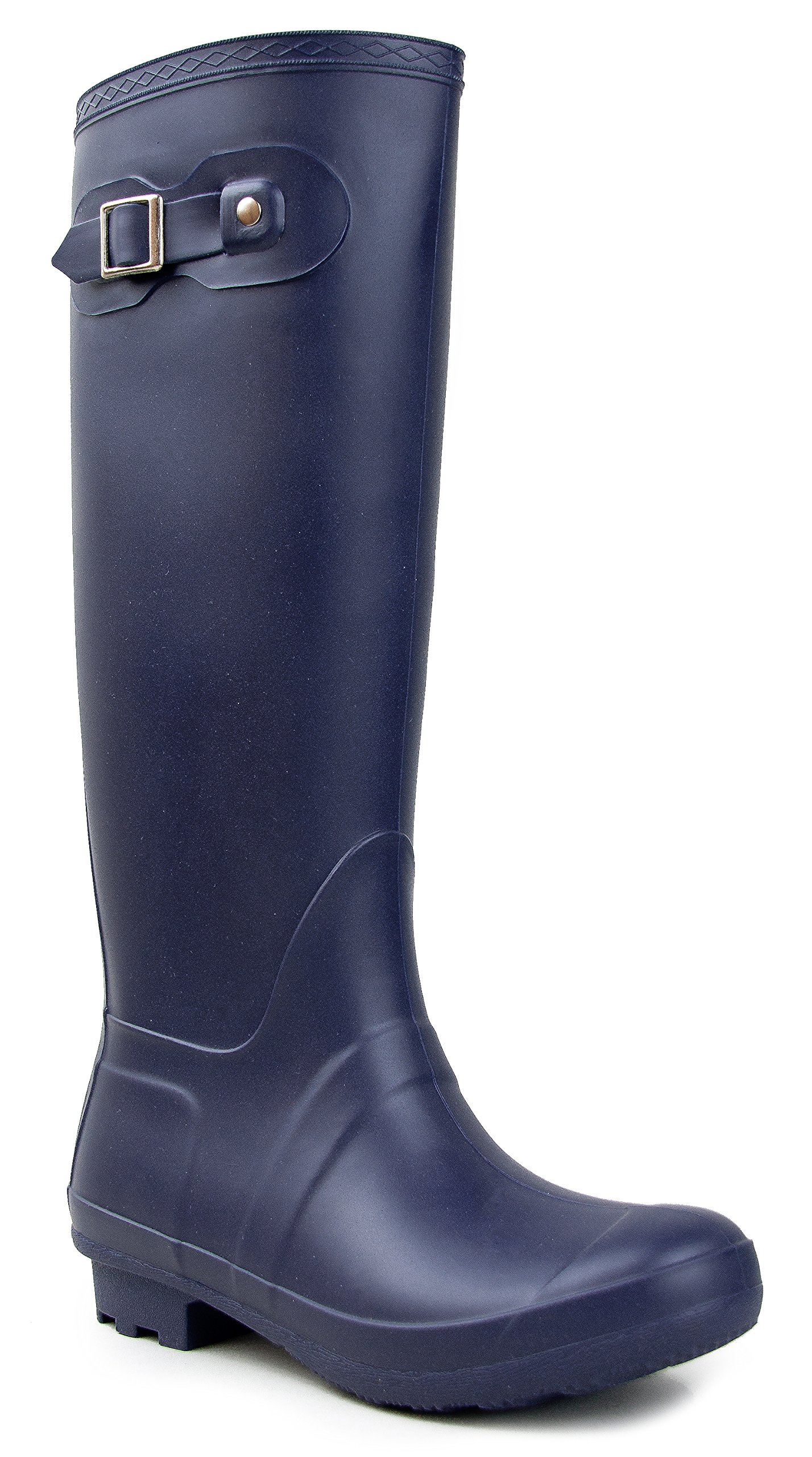 Classic Over the Knee High Rain Boot – Women's Welly Comfort Tall Mid Calf Rainboot - Weatherproof Shoe