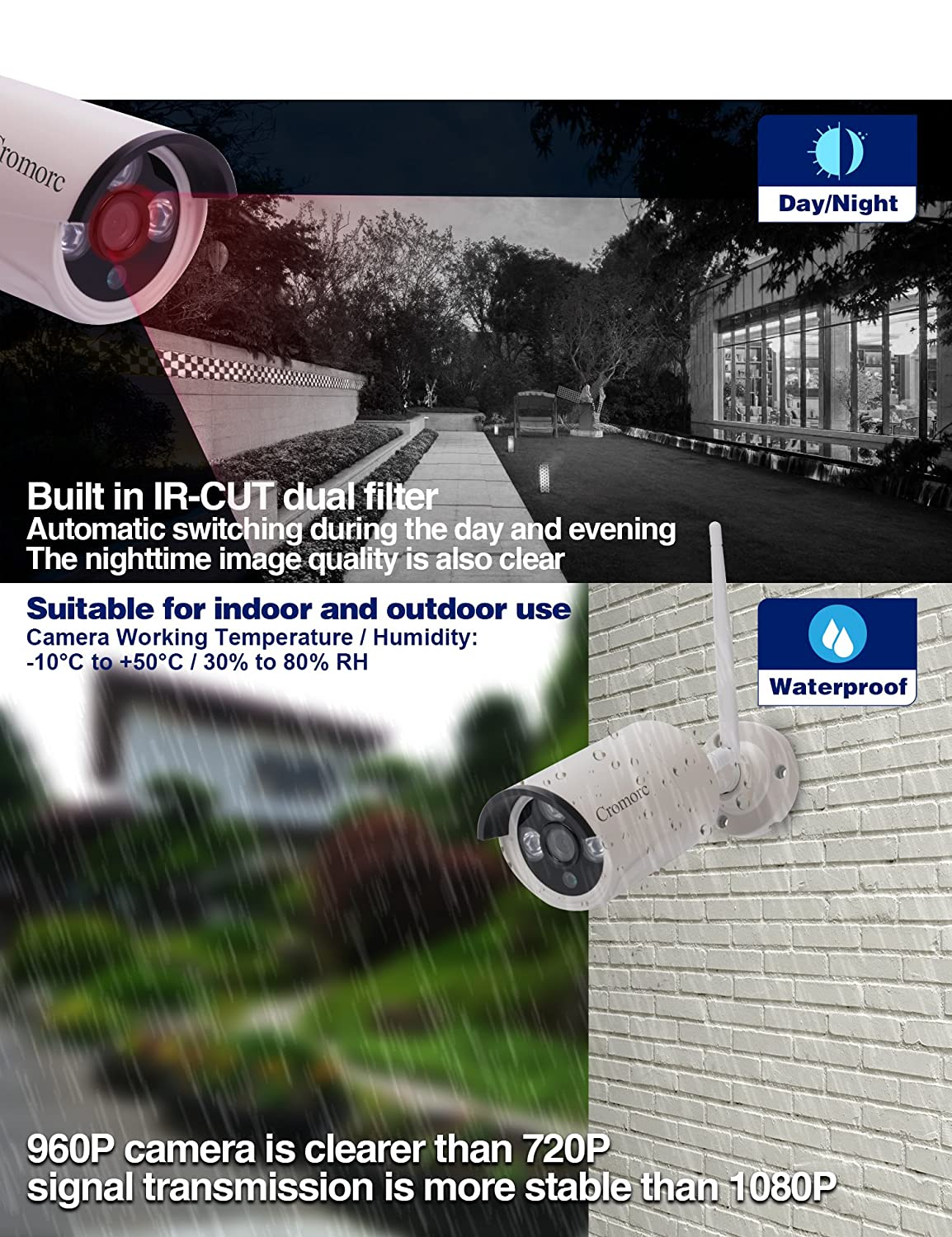 Cromorc 960P Surveillance Bullet Camera Waterproof Outdoor Indoor 3.6mm Lens IR Cut Day Night Vision with 5DB Antenna with Bracket with Power Adapter