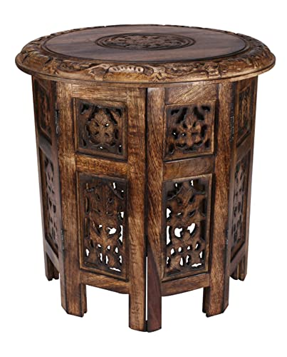 Solid Wood Hand Carved Accent Table, Side Table, entryway Table, Wooden end Table, Bedside Table, Octagonal Wooden Table – 18 Inch Round Top x 18 Inch High – Burnt