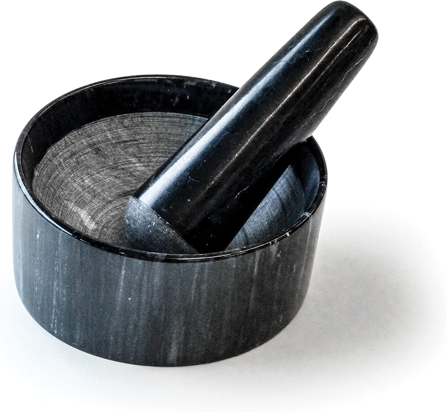 Rsvp International Black Marble Mortar Pestle 6 Ounce Grind Spices Powder Pesto Mash Herbs Crush Pills Unique Marble Design Kitchen Dining