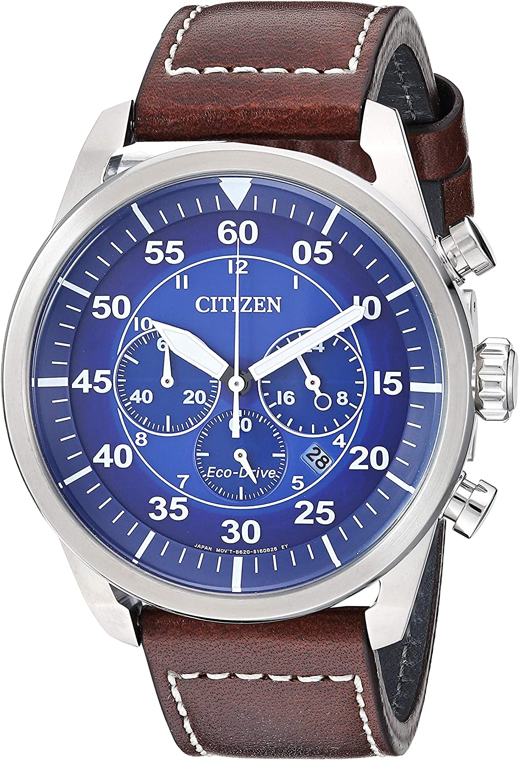 Citizen Men s Avion Stainless Steel Quartz Leather Calfskin Strap, Brown, 21.7 Casual Watch Model CA4210-41M