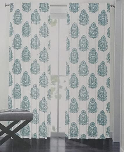 Nicole Miller Pair Of Window Panels Curtains Drapery Set 2 Blue Green China Paisely
