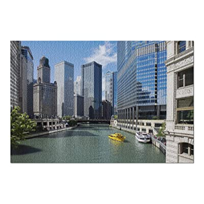 Chicago River View Photography A-90299 (Premium 1000 Piece Jigsaw Puzzle for Adults, 20x30, Made in USA!): Toys & Games