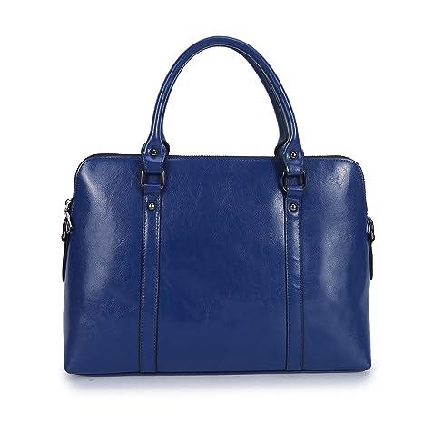 CLOCOLOR Mujer Cartera de Mano Cuero Negocio Bandolera Bolso de Mano Estilo Simple Gran Capacidad Azul