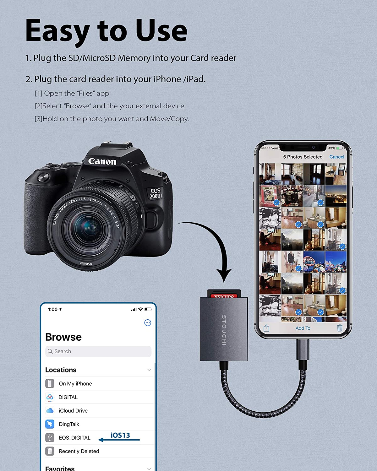 Lightning to SD Camera Card Reader Mfi Certified Stouchi 2 in 1 High-Speed 14Mb//s to 16Mb//s SD//MicroSD Camera Memory Card Reader for Compatible iPhone//iPad//iPod Series with iOS 9.2 or Later