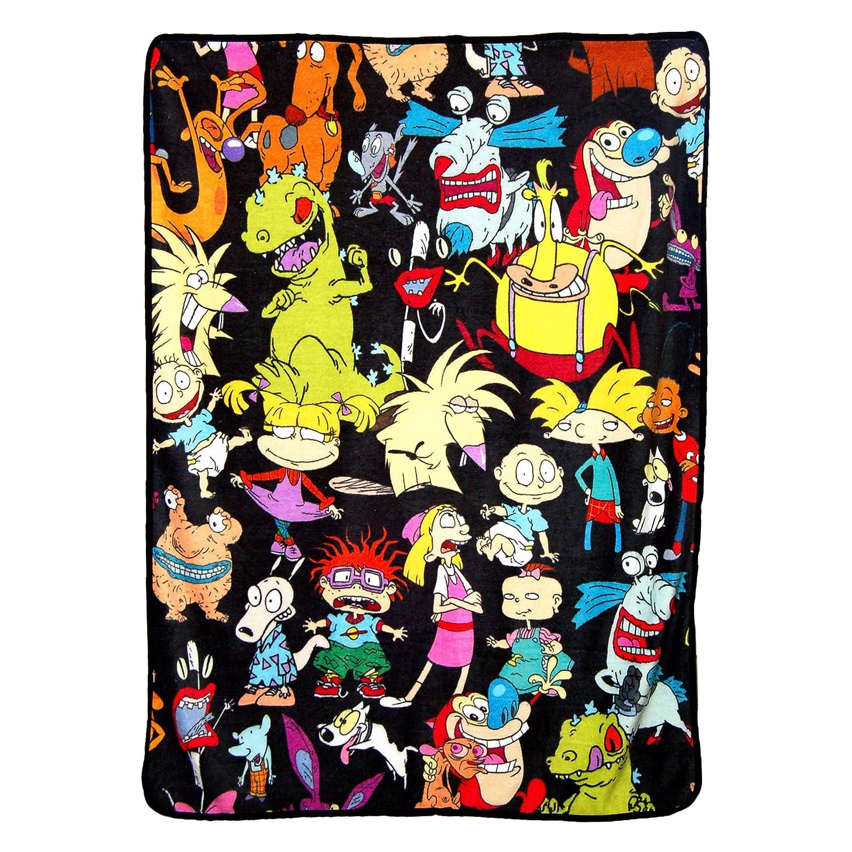 """Nickelodeon's Rugrats Nick Rewind, """"Go Splat"""" Micro Raschel Throw Blanket, 46"""" x 60"""", Multi Color"""