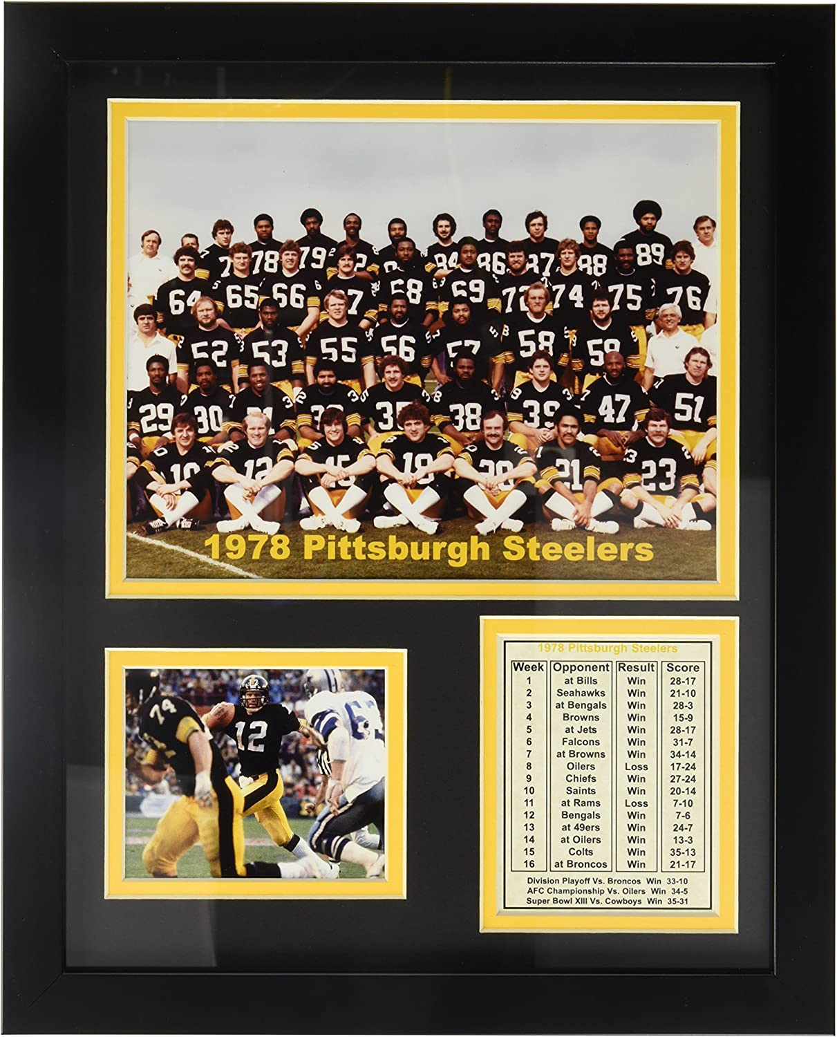 "1978 Pittsburgh Steelers 11"" x 14"" Framed Photo Collage by Legends Never Die, Inc."