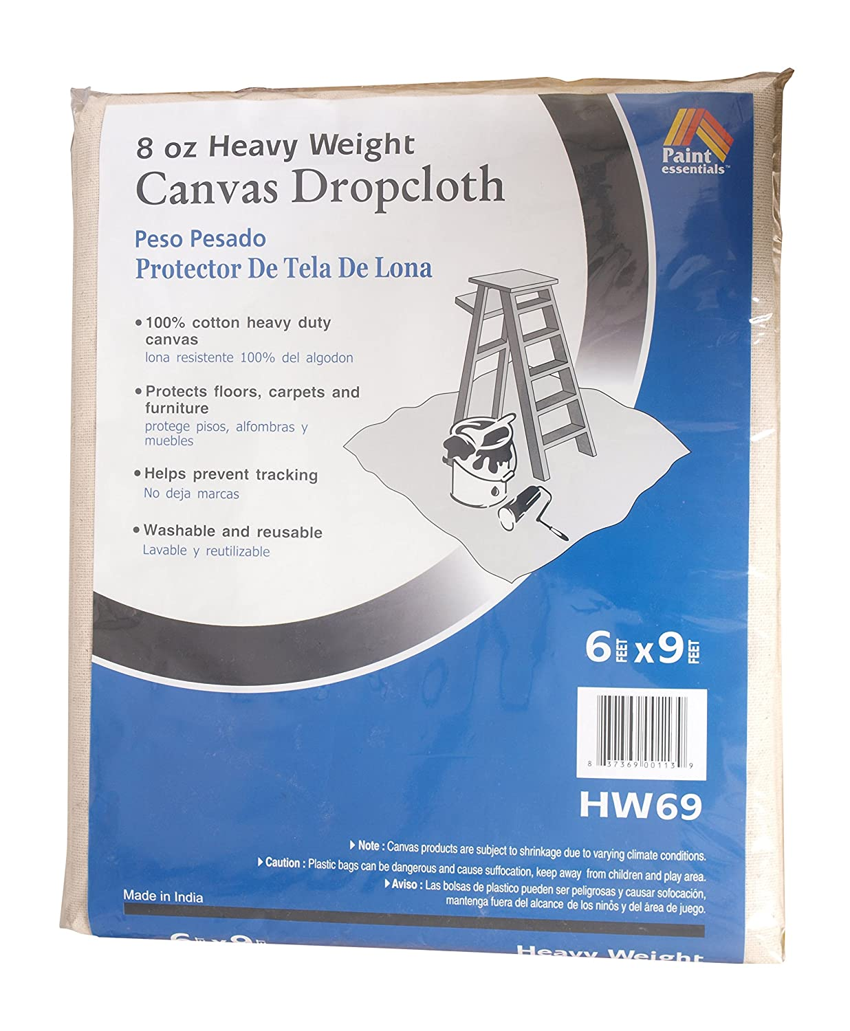 galaxy products hw69 canvas drop cloth 6 x 9feet natural amazoncom