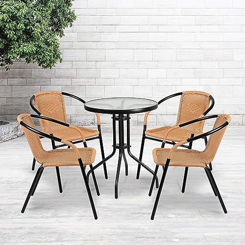 Flash Furniture 4 Pack Beige Rattan Indoor-Outdoor Restaurant Stack Chair