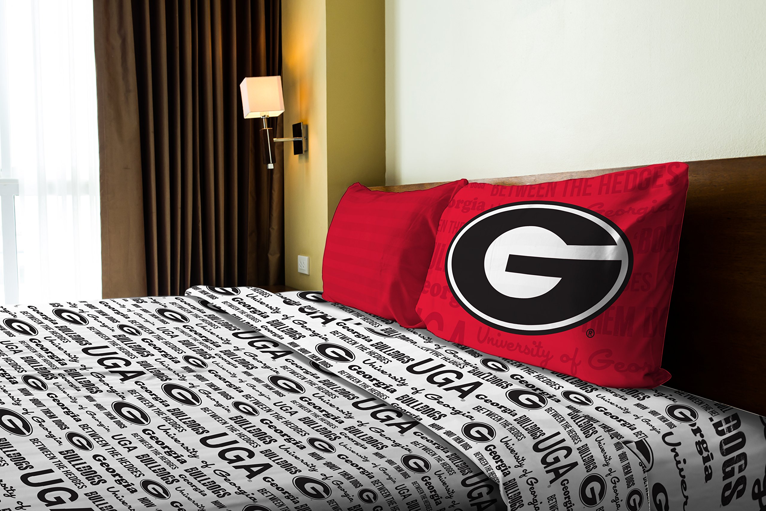 Georgia OFFICIAL Collegiate, Bedding, Anthem Twin Sheet Set (1 Flat 66 x 96, 1 Fitted 39 x 75 + 12 pocket, and 1 Pillowcase 20 x 30)