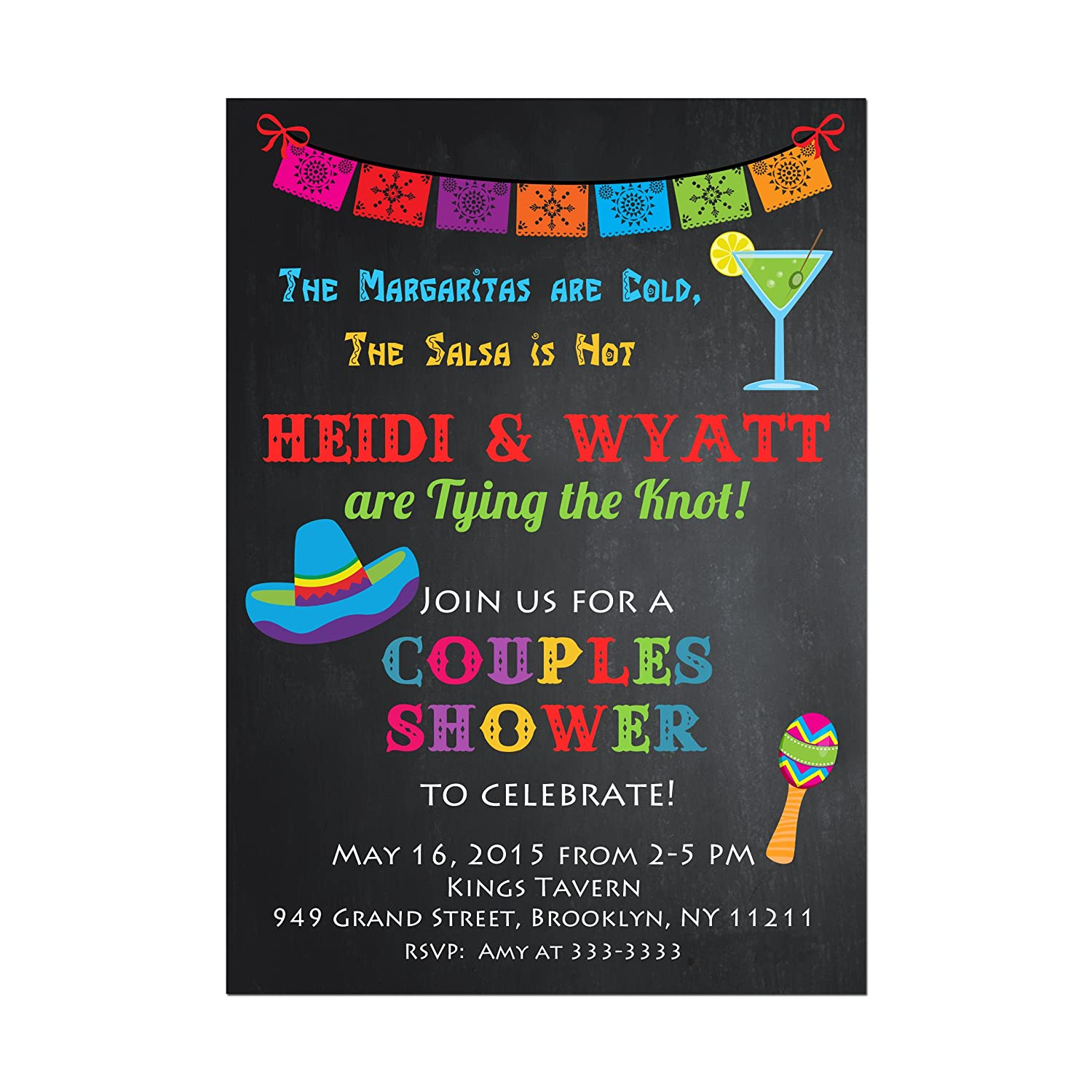 Amazon Com Mexican Fiesta Bridal Shower Invitation Couples Shower