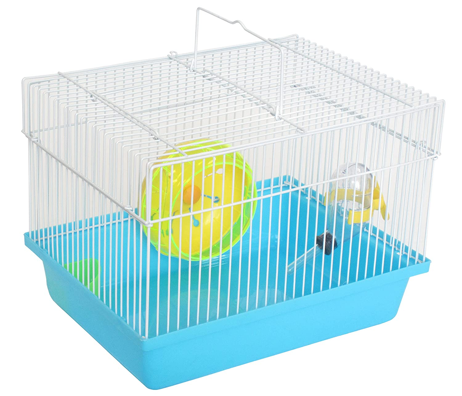 YML Single Story Dwarf Hamster Cage with Small Wheel/Dish and Water Bottle/Plastic Base Blue YML GROUP INC AH166BL