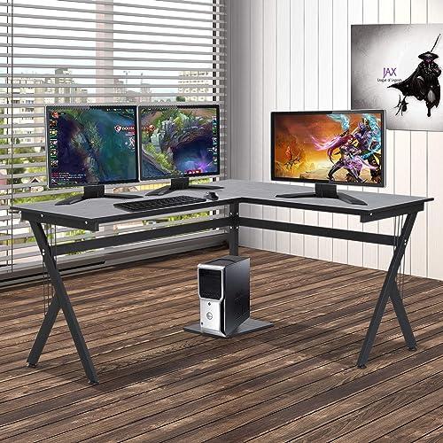 HOMCOM 61 Inch Modern Reversible L-Shaped Home Office Desk Computer Laptop Table Gaming Desk Corner Workstation